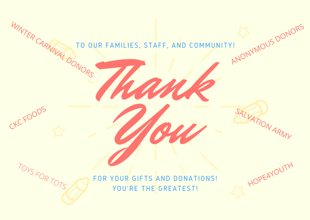 Thank you to our families, staff and community.